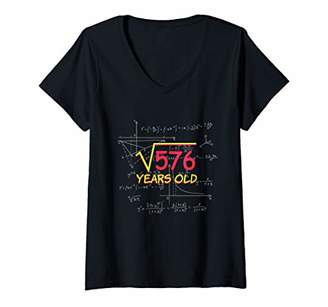 IDEA Womens Square Root of 576 - 24th Birthday Gift Math V-Neck T-Shirt