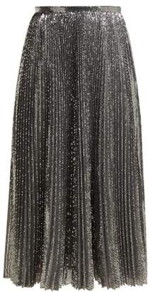 MSGM Sequinned Pleated Midi Skirt - Womens - Silver