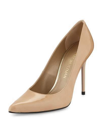 Stuart Weitzman Nouveau Patent Point-Toe Pump, Adobe