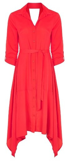Women's Topshop Handkerchief Hem Midi Shirtdress 2