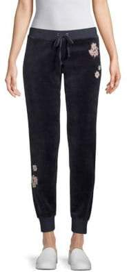 Floral-Patch Velour Jogger Pants