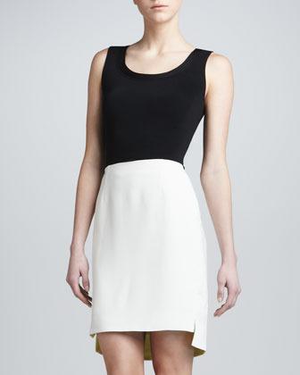 J. Mendel Structured Crepe Skirt, Chalk
