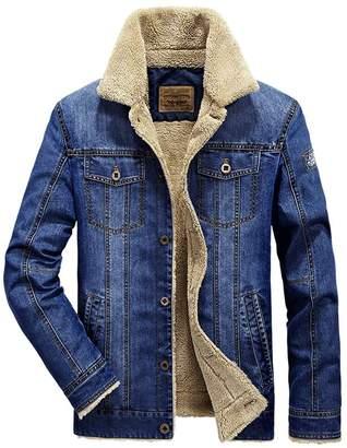 Kedera Mens Plus Velvet Warm Fur Collar Slim Fit Denim Jacket Coat Tops for Winter