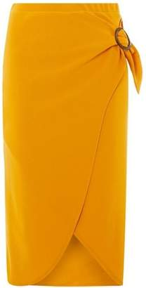 Dorothy Perkins Womens Yellow Eyelet Wrap Midi Skirt