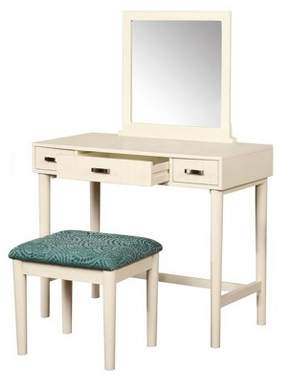Linon Garbo Vanity with Bench Cream