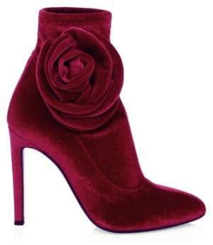 Giuseppe Zanotti Single Rose Stiletto Heel Velvet Booties
