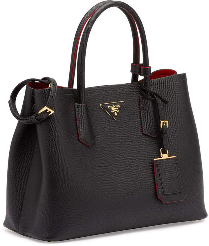 Prada Saffiano Cuir Double Medium Tote Bag, Black/Red (Nero+Fuoco) 2