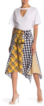 Free the Roses Plaid Asymmetrical Tie Waist Skirt