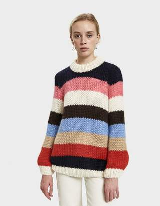Ganni Julliard Striped Long Mohair Sweater