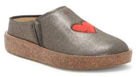 ED Ellen Degeneres Tillie Embroidered Heart Leather Mules