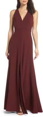 Jenny Yoo Margot V-Neck Knit Crepe Gown