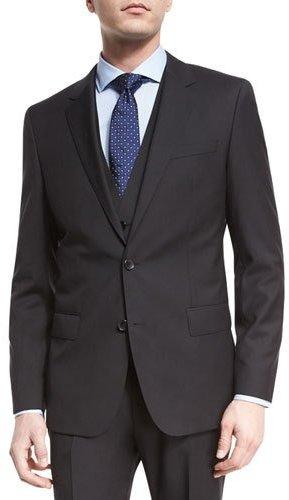 Hugo BossBoss Hugo Boss Huge Genius Slim Tonal-Stripe Three-Piece Wool Suit, Black