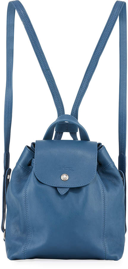 Longchamp Le Pliage Cuir XS Leather Backpack - BLUE - STYLE