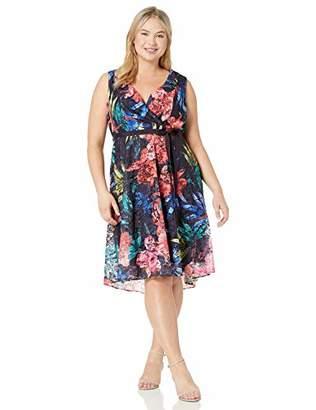 Gabby Skye Women's Plus Size Sleeveless V-Neck Floral Print Wrap Lace Dress