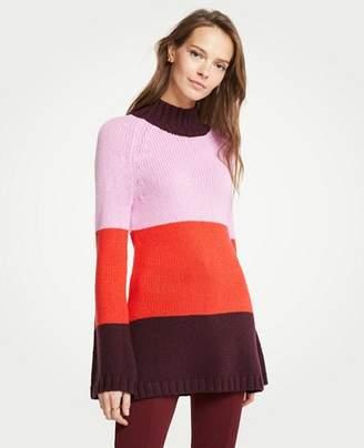 Ann Taylor Striped Mock Neck Tunic Sweater