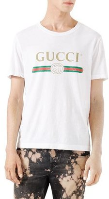 Gucci Washed T-Shirt w/GG Print, White $420 thestylecure.com