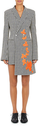 Off-White c/o Virgil Abloh Women's Embroidered Houndstooth Wool Minidress $1,490 thestylecure.com
