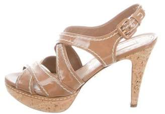 Prada Patent Leather Platform Sandals brown Patent Leather Platform Sandals