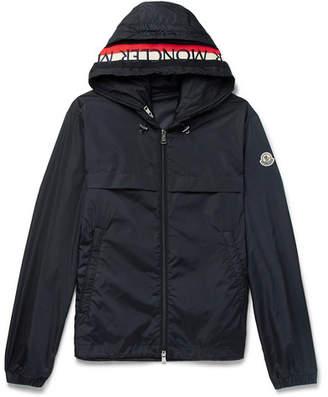 Moncler Gradignan Stripe-Trimmed Shell Hooded Jacket