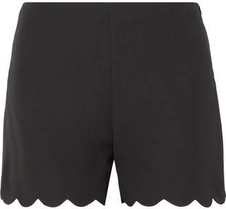 Valentino Scalloped Silk-crepe Shorts - Black