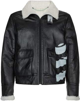 Off-White Off White Shearling Lined Leather Jacket