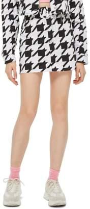 Topshop Dogstooth Denim Skirt