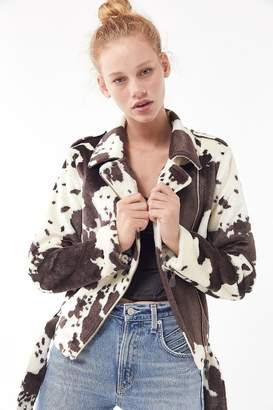 Urban Outfitters Cow Print Faux Fur Moto Jacket
