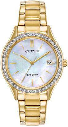 Citizen Eco-Drive Women Gold-Tone Stainless Steel Bracelet Watch 34mm