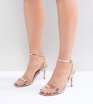 Barely There ASOS DESIGN Half Time Wide Fit Heeled Sandals