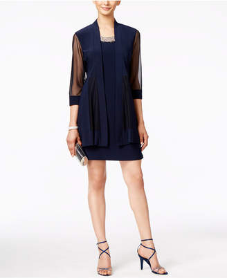 R & M Richards Embellished Dress and Illusion Duster Jacket $89 thestylecure.com