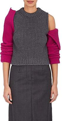 Calvin Klein Women's Contrast-Sleeve Wool Sweater