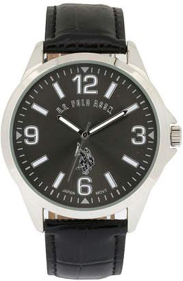 U.S. Polo Assn. USPA Mens Black Leather Strap Watch