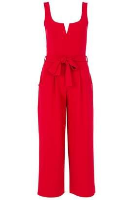 Quiz Red Crepe Tie Belt Culotte Jumpsuit