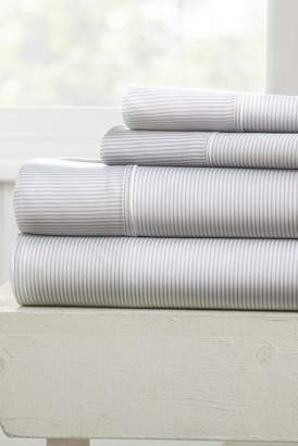 IENJOY HOME Our Elegant Pinstriped Pattern 4-Piece Sheet Set - Light Gray - King