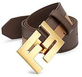 Fendi Men's Bicolor Leather Belt