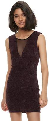 Trixxi Juniors' Illusion Glitter Knit Bodycon Dress