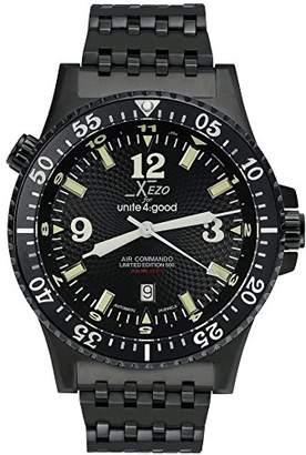 Commando Xezo Men's Air D45-BL Japanese-Automatic Diver's Pilots Watch. 2nd Time Zone. 200M WR. Black PVD Titanium Carbide Coated