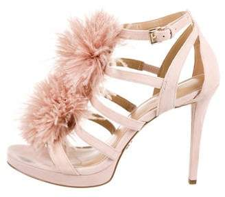 MICHAEL Michael Kors Suede Feather-Trimmed Sandals