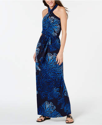 Michael Kors Printed Tie-Neck Halter Maxi Dress