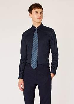 Men's Super Slim-Fit Dark Navy Shirt With 'Artist Stripe' Cuffs