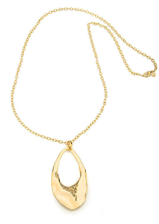 Alexis Bittar Long Gold Crystal Encrusted Wavy Link Pendant