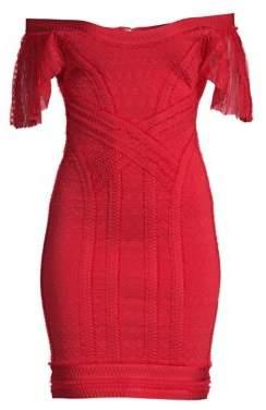Herve Leger Off-The-Shoulder Knit Sheath Dress