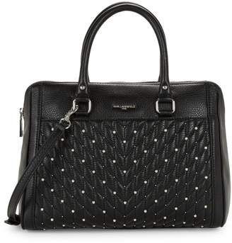 Karl Lagerfeld Paris Embellished Quilted Chevron Leather Satchel