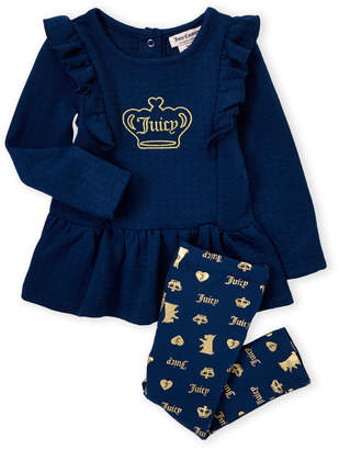 Juicy Couture Newborn Girls) Two-Piece Long Sleeve Crown Tunic & Foil Printed Leggings Set