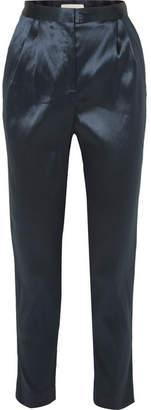Mansur Gavriel Satin Tapered Pants - Blue