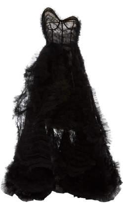 Oscar de la Renta Strapless Asymmetric Tulle Gown