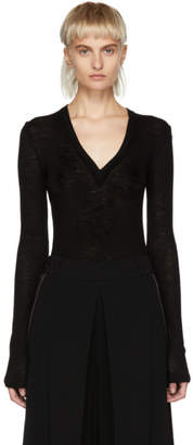 Alexander Wang Black Sheer Deep V-Neck Sweater