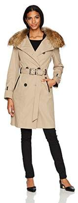 Mackage Women's Karolina Trench Coat with Removable Collar and Down Vest
