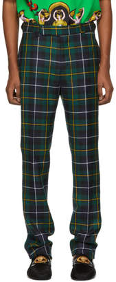 Versace Green Plaid Trousers