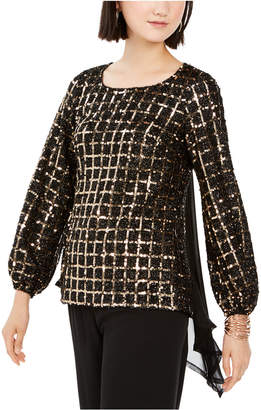 28th & Park Sequined Grid & Chiffon Blouse